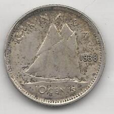 CANADA,  1938, 10 CENTS,  SILVER,  KM#34,  EXTRA FINE
