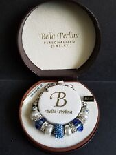 Bella Perlina Personalized Jewelry Blue & Silver Bracelet (One size fits all)