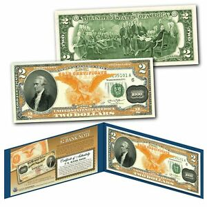1882 Series Alexander Hamilton $1000 Gold Certificate designed on a Real $2 Bill