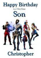 Fortnite Birthday Card - PERSONALISED - Son Grandson Male Boy Brother Child