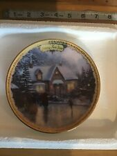 """Thomas Kinkade's """"Simpler Times"""" Happy New Year """"Skaters on the Pond"""" Plate"""