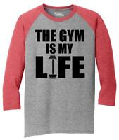 Mens Gym Is My Life Funny Workout Gym Trainer Gift Shirt 3/4 Triblend Fitness