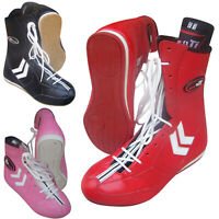 Leather Boxing Boots Shoes Rubber Sole Long Anklet Boots UK 1 TO UK 13