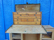 Vtg M. Cherry chest tool box machinist wooden 8 drawers industrial trunk cabinet