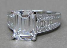 Moissanite Engagement Ring 10K White Gold 3.82 Ct Near White Emerald Cut