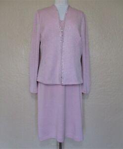 St. John Evening Skirt Suit Size 14/L Women pink silver lurex Santana knit studs
