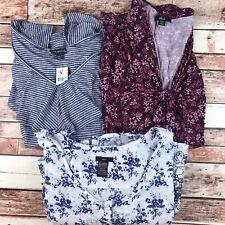 Womens 4x-5x Plus Size Clothing Lot Blouses Lane Bryant Ellos 3 Pieces