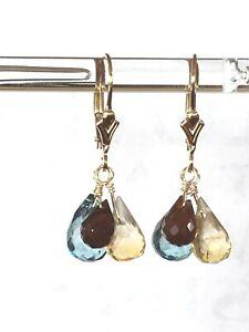 14k Yellow Gold Filled Citrine, Garnet, Topaz Briolette Cluster Dangle Earrings