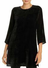Eileen Fisher Womens Black Silk Velvet Round Neck Tunic Top Shirt PM 9149