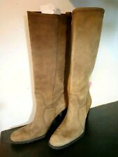 Aldo Size 9 M Knee High Boots Brown Leather Made Italy Distressed Soft Suede
