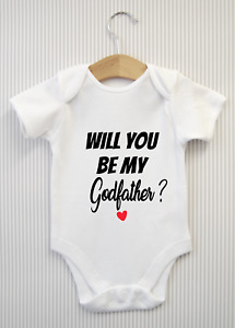 Will you be my Godfather? Baby Grow Announcement Bodysuit Babygrow Gift Vest #2