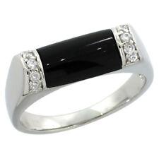 Neues AngebotSterling Silber Schwarz Onyx Ring W / Brillantschliff Cubic Zirkonia Steine