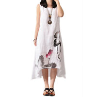 Plus Womens Summer Baggy Cotton Linen Casual Loose Long Maxi Dress Boho Kaftan