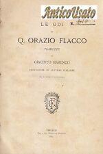LE ODI DI QUINTO ORAZIO FLACCO tradotte Giacinto Marenco 1885 Guidetti Vercelli