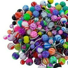 Lot 10Pcs 14G Belly Button Navel Rings Mix Clor Stainless Barbell/Plastic