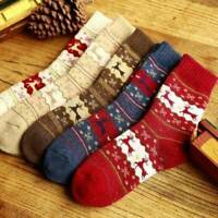 Christmas Socks Snowflake Wool Knitted Winter Warm Womens Cute Deer Plush Gift