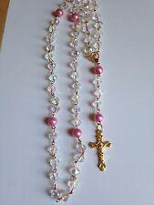 A HANDMADE ROSARY WITH SWAROVSKI CRYSTAL BEADS (free rosary case)