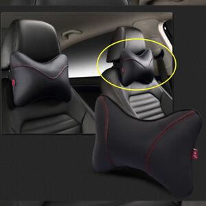 PU Leather Car Rest Cushion Seat Head Headrest Neck Rest Pillow Pad Black 1X