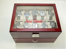 20 watch Clear Top Rosewood Storage & Display Case Box + Free Polishing Cloth