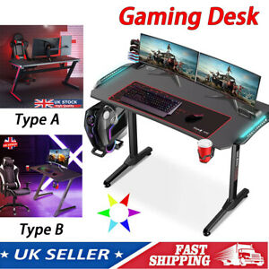 Gaming Desk PC Computer Table LED RGB Z Shaped Home Office w/ Headphone Hook UK