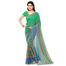 Green Georgette Printed Bollywood Saree Party Indian Pakistani Designer Sari