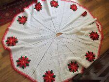 """Large 60"""" Handmade Crochet Poinsettias Christmas Tree Skirt"""