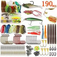 190Pcs Bass Fishing Tackle Kit Spinnerbait Worm Lures Hooks Swivels Tackle Box
