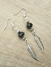 Silver Feather Earrings Black Beads Feathers Gothic Goth Dangly Drop Hook