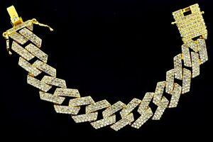 "Miami Cuban Diamond Prong Link Hip Hop Flashy Iced 14K Yellow Plated 8"" Bracelet"