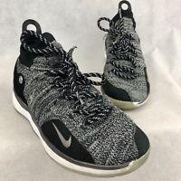 Nike KD 11 Oreo Still KD Flyknit Basketball Shoes Size 6Y Black White Sneakers