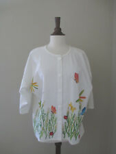 Vintage Luisa Mexico Hand Painted Butterflies Ladybug Cotton Shirt Size M