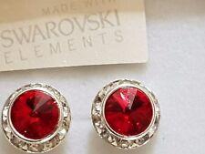 Genuine Swarovski Elements Gift Boxed Light Siam Red Crystal Stud Earrings 13mm