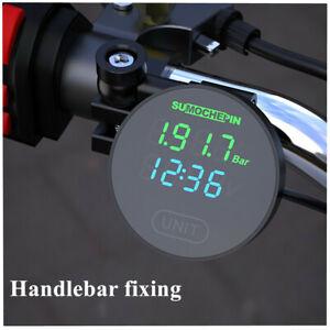 TPMS Motorcycle Tire Pressure Tyre Temp Monitor Digital Clock Voltmeter+2 Sensor