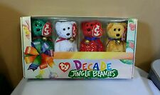 Ty DECADE JINGLE BEANIES in a  Collectible Box Set of Four Beanies, Retired New