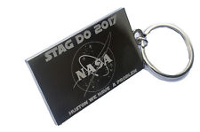 NASA Logo Engraved  + your text - Personalised Keyring Double Sided