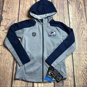 NHL Youth Small Colorado Avalanche Delta Full Zip Logo Track Jacket Hood New