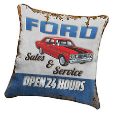 FORD Heritage Canvas Fabric Cushion Pillow Stitched Man Cave Fathers Bar Gift