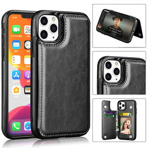 Leather Wallet Case For iPhone 11,11 Pro Max,12,12 Pro Max Flip Stand Card Cover