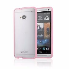 HTC One M7 amCase Protective Hybrid Matte Bumper Phone Case/Cover (Pink)