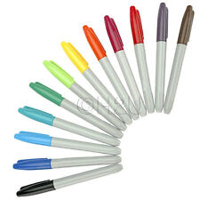 12pc PERMANENT COLOUR CHUNKY MARKER PEN TATTOO PIERCE CD DVD GOLF BALL DISC