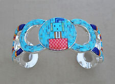"""HANDCRAFTED TURQUOISE MICROSTONE INLAY .925 STERLING SILVER YEI BRACELET 6-3/4"""""""