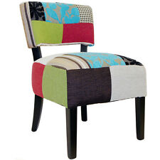 PLUSH PATCHWORK - Square Back Chair with Wood Legs - Blue / Green OCH4004