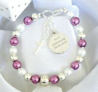Girls Boys First Holy Communion Christening Personalised Engraved Charm Bracelet