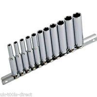 "1/4"" Socket Set Deep Drive 11pc 4 - 13mm Deep Sockets on Rail Cr-v Long Reach"