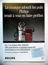 PUBLICITE-ADVERTISING :  PHILIPS Philishave  1990 Rasoir,Baladeur Radio FM