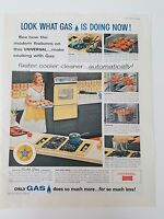 1960 Yellow Stove Oven Appliances Vintage Woman Cooking Original Ad