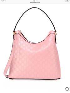 NEW Auth Gucci $1850 Guccissima Linea A Leather Hobo Shoulder Bag, Rose