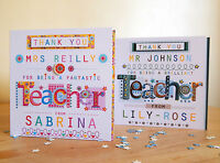 TEACHER THANK YOU CARD Personalised  male/female TEACHER Thanks Teacher card