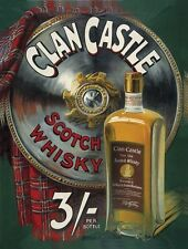 Clan Castle Scottish Old Whisky Bottle Drink Bar Pub Tartan Large Metal/Tin Sign