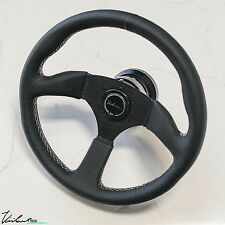 VIILANTE LEGGERA STEERING WHEEL PERFORATED LEATHER WHITE STITCH FITS NISSAN 350z